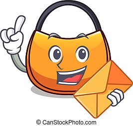 With envelope beautifully hobo bag on character funny vector...