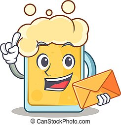 With envelope beer character cartoon style