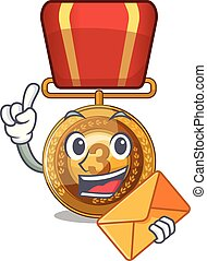With envelope bronze medal cartoon in character cupboard