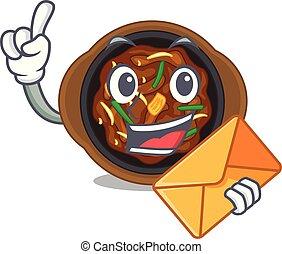 With envelope bulgogi in a the bowl cartoon