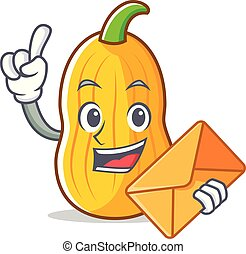 With envelope butternut squash character cartoon vector...
