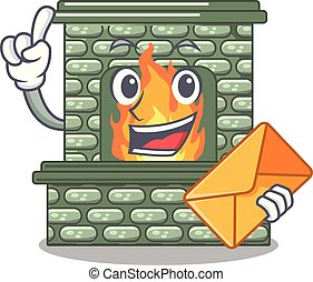 With envelope cartoon a fireplace in the house