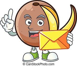 With envelope cartoon bambangan fruit isolated on white background