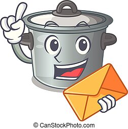 With envelope cartoon cookware stock pot in kitchen vector...