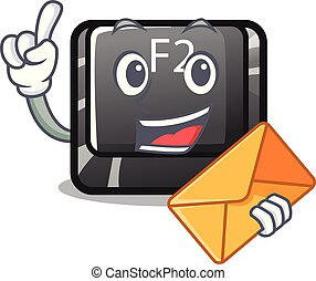 With envelope cartoon f2 button on the keyboard