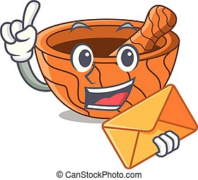 With envelope character cartoon wooden mortar and pestle