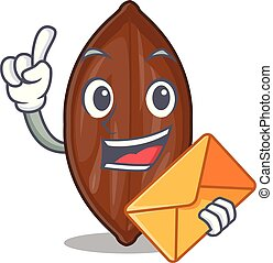 With envelope character pecan nuts in wood bowl vector...