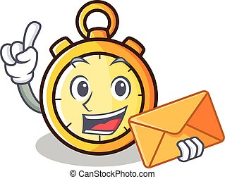 With envelope chronometer character cartoon style