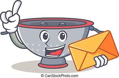 With envelope colander utensil character cartoon
