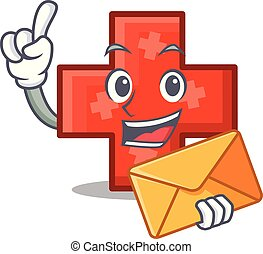 With envelope cross character cartoon style