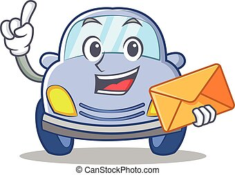 With envelope cute car character cartoon