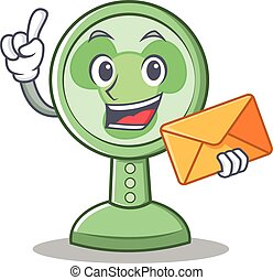 With envelope fan character cartoon style