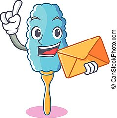 With envelope feather duster character cartoon