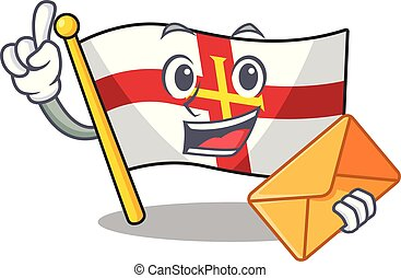 With envelope flag guernsey with the cartoon shape vector illustration