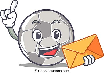 With envelope football character cartoon style