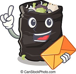 With envelope garbage bag in the cartoon shape vector illustration
