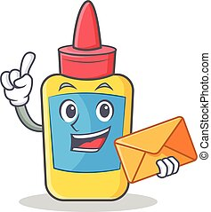 With envelope glue bottle character cartoon