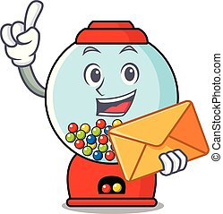With envelope gumball machine character cartoon
