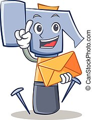 With envelope hammer character cartoon emoticon
