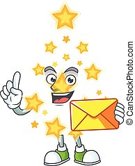With envelope Happy face christmas star mascot cartoon style