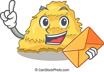 With envelope hay bale character cartoon