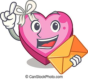 With envelope Heart box isolated in the character