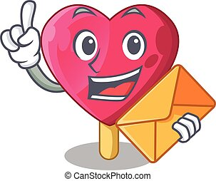 With envelope heart character ice cream on candy