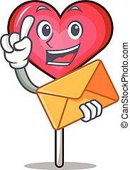 With envelope heart lollipop character cartoon vector ...