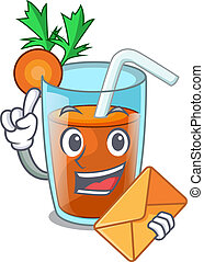 With envelope homemade carrot smoothie in cartoon glass