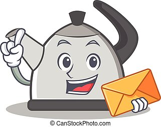 With envelope kettle character cartoon style vector...