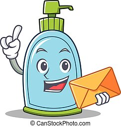 With envelope liquid soap character cartoon