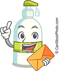 With envelope liquid soap in a cartoon basket