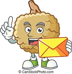With envelope marolo character mascot on white background