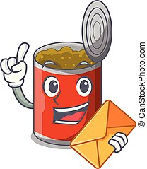 With envelope metal food cans on a cartoon vector...