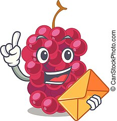 With envelope mulberry in the character fruit basket vector...