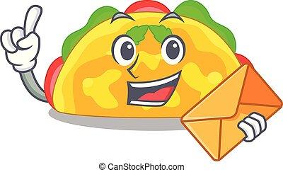 With envelope omelatte is fried on character teflon vector ...