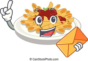 With envelope pasta in the a character bowl