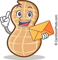 With envelope peanut character cartoon style