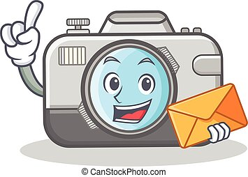 with envelope photo camera character cartoon