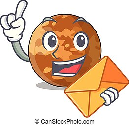 With envelope picture of a cartoon mercury planet
