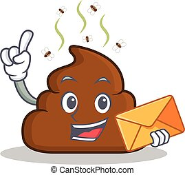 With envelope Poop emoticon character cartoon