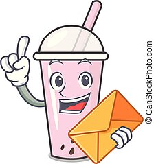 With envelope raspberry bubble tea character cartoon