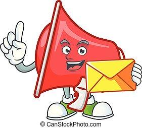 With envelope red loudspeaker character for speak loud.