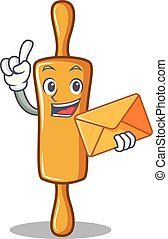 With envelope rolling pin character cartoon