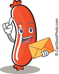 With envelope sausage character cartoon style
