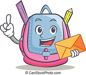 With envelope school bag character cartoon