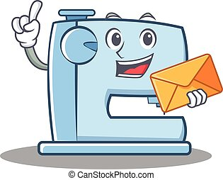 With envelope sewing machine emoticon character