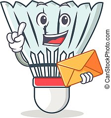 With envelope shuttlecock character cartoon vector