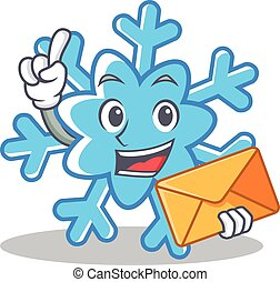 With envelope snowflake character cartoon style