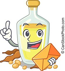 With envelope soybean oil in a mascot bowl